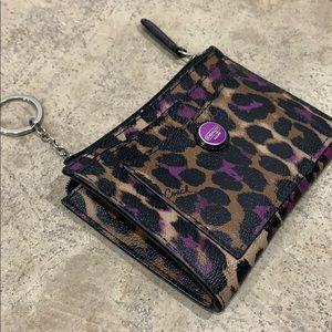 Coach wallet keychain zip pouch leopard violet